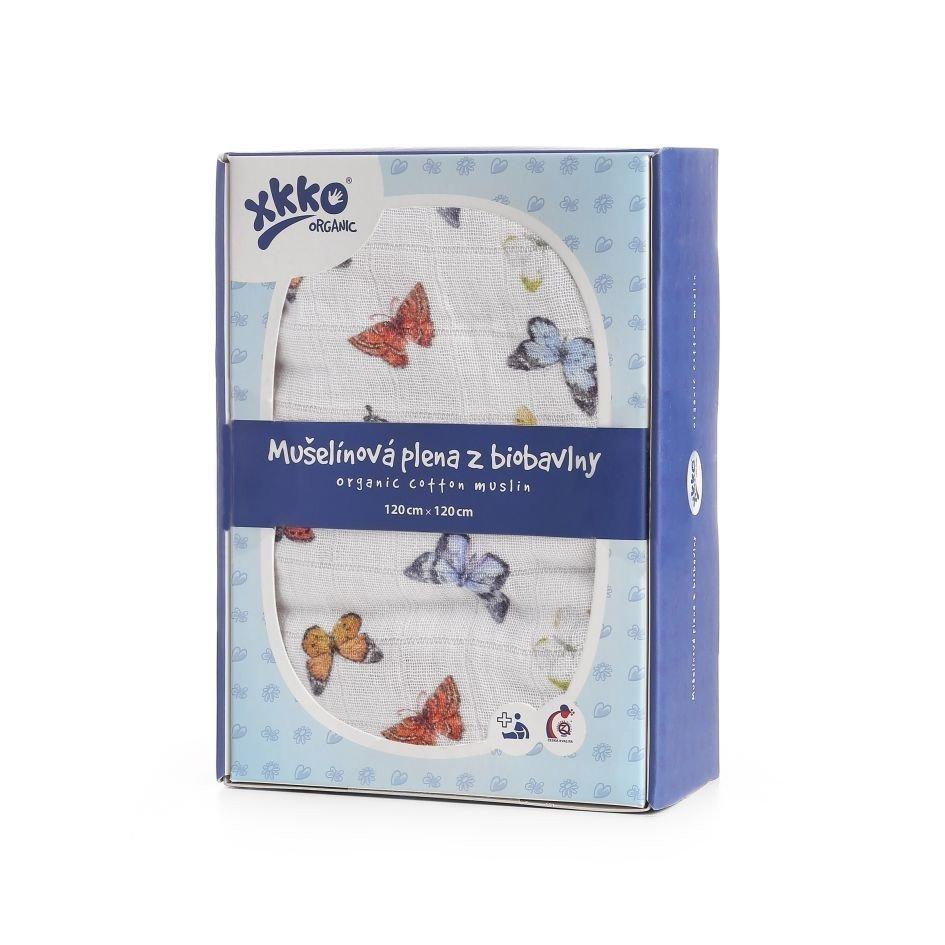 Bavlnen� plienka Organic 120x120 cm Butterflies