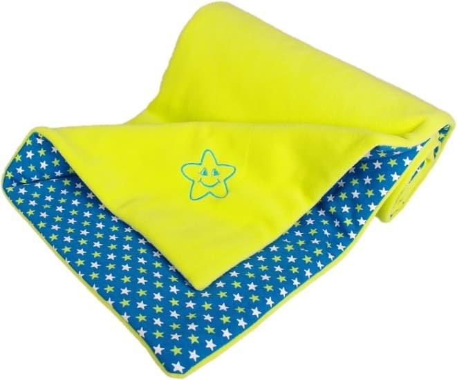 Zateplen� detsk� deka hviezdi�ky 70x100 cm limetkov�