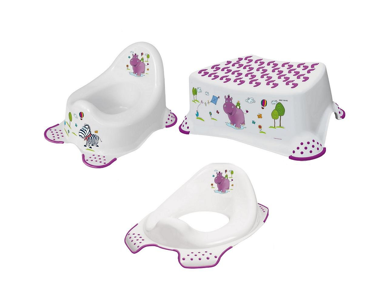 Hygienick� set Hippo no�n�k bez mel�die + stoli�ka + redukcia biela