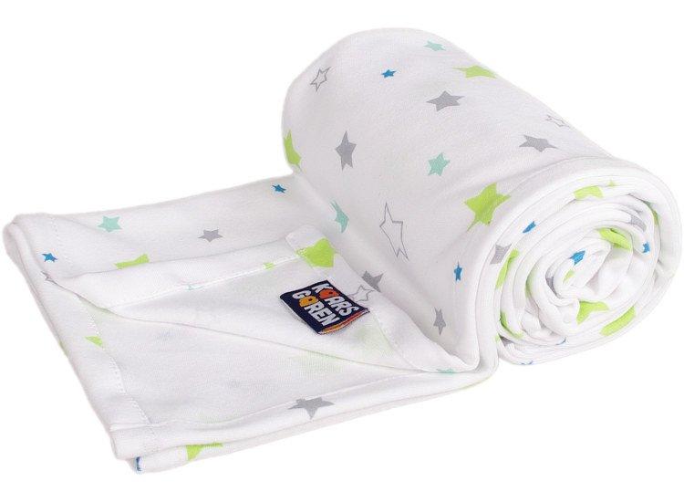 Letn� deka z biobavlny hviezdi�ky na biele - zv��i� obr�zok