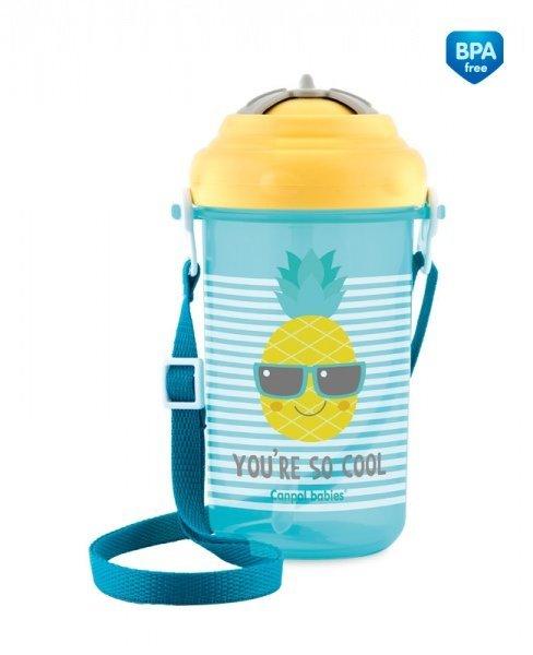 Cestovn� sportovn� l�hev se sl�mkou a v��kem SO COOL ananas 400 ml �lut� - zv��i� obr�zok