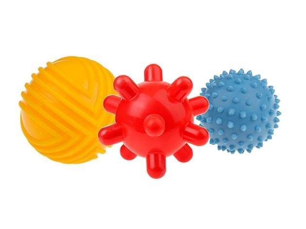 Senzorick� stimula�n� gumov� lopti�ky 8cm 3ks 0m + - zv��i� obr�zok