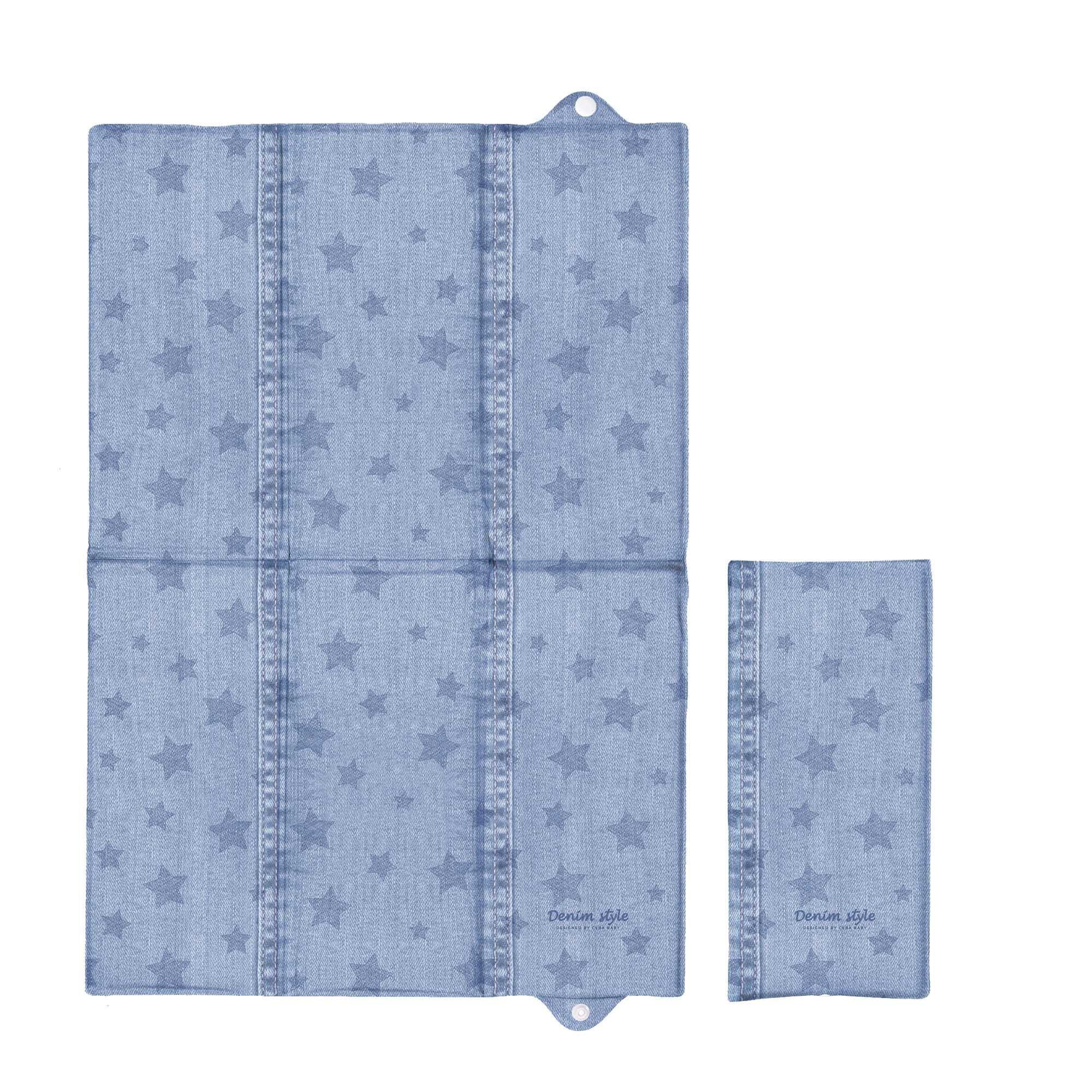 Cestovn� preba�ovacia podlo�ka Denim style Hviezdy modr� 40x60 cm - zv��i� obr�zok