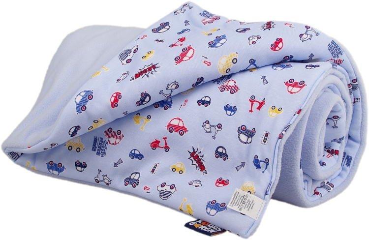 D�tsk� deka sv�tle modr� s aut��ky fleece bavlna - zv��i� obr�zok