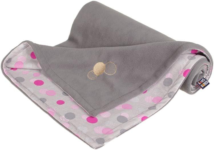 D�tsk� deka �ed� s punt�ky fleece bavlna - zv��i� obr�zok