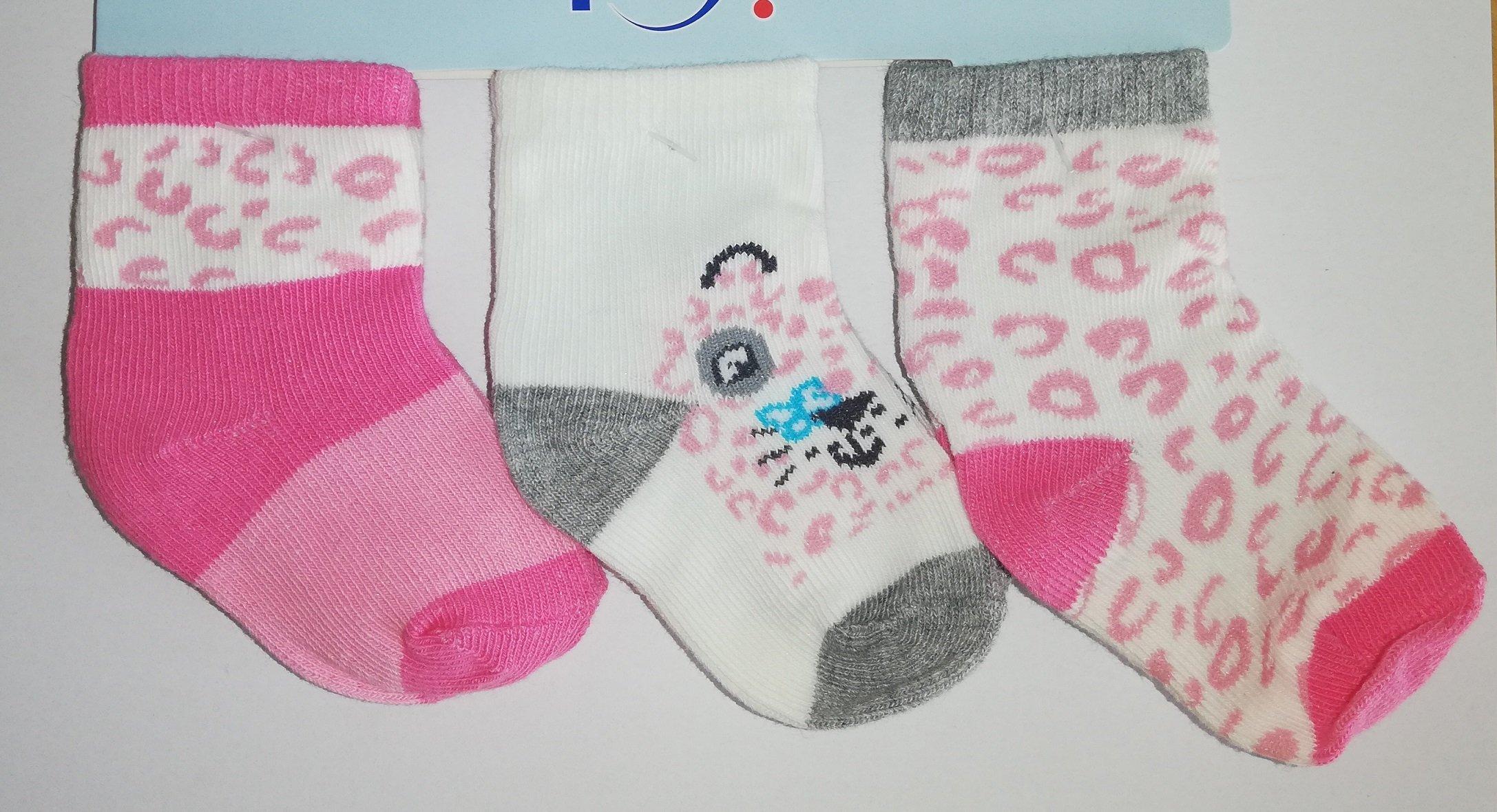 Pono�ky kojeneck� 3 p�ry v balen� 6-9m barevn� holka pejsek - zv��i� obr�zok