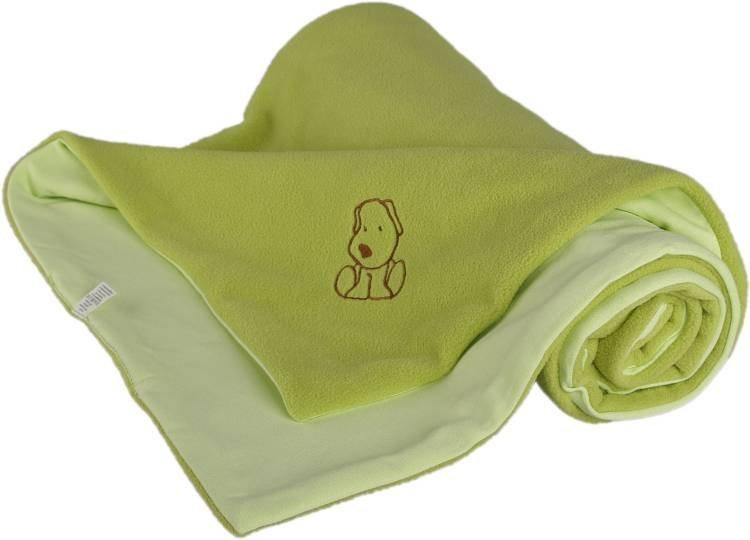 D�tsk� deka zelen� s pejskem fleece bavlna - zv��i� obr�zok