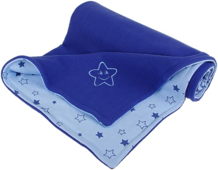 D�tsk� deka modr� hv�zdi�ka fleece bavlna - zv��i� obr�zok