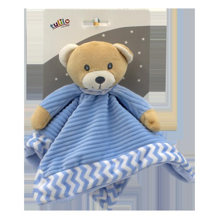 Ply�ov� hra�ka zasp�va�ik medved�k 25cm modr� Axiom - zv��i� obr�zok