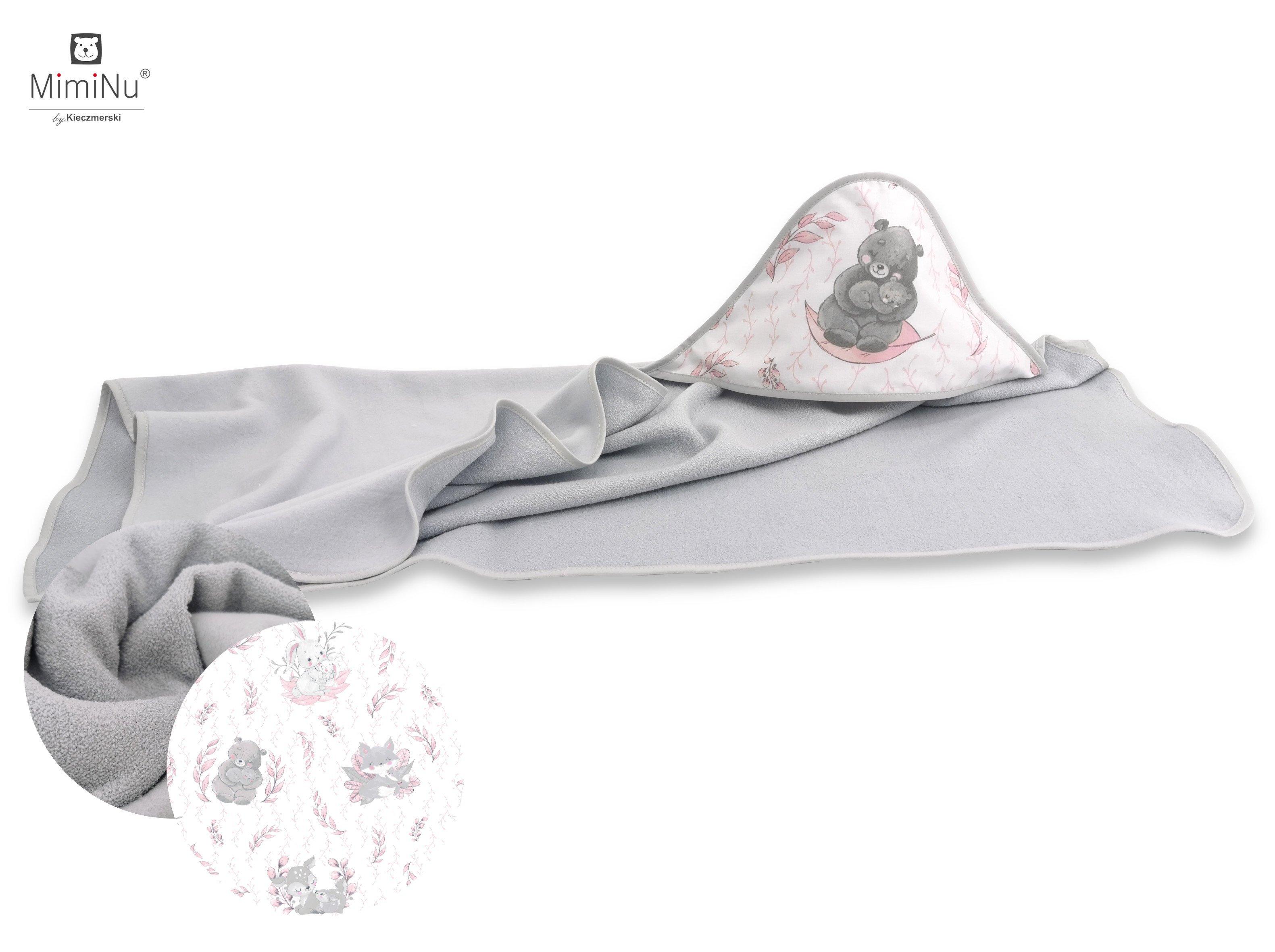 Frot� osu�ka s kapuc�ou 100x100 cm Lulu ru�ovo-siv� - zv��i� obr�zok