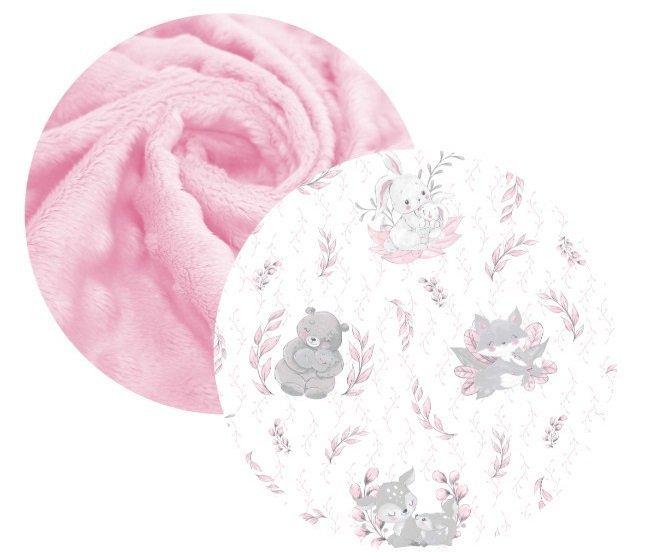 Deka bavlnen� + minky 75x100 cm Lulu ru�ov� - zv��i� obr�zok