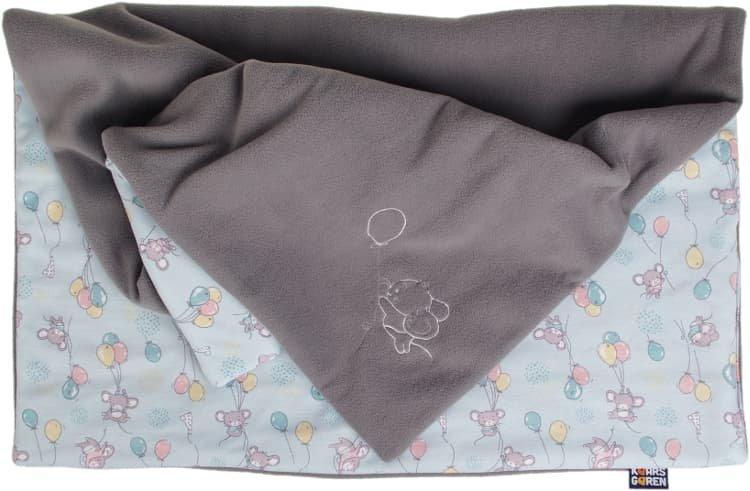 Zateplen� detsk� deka 70x100 cm siv� my�ky - zv��i� obr�zok