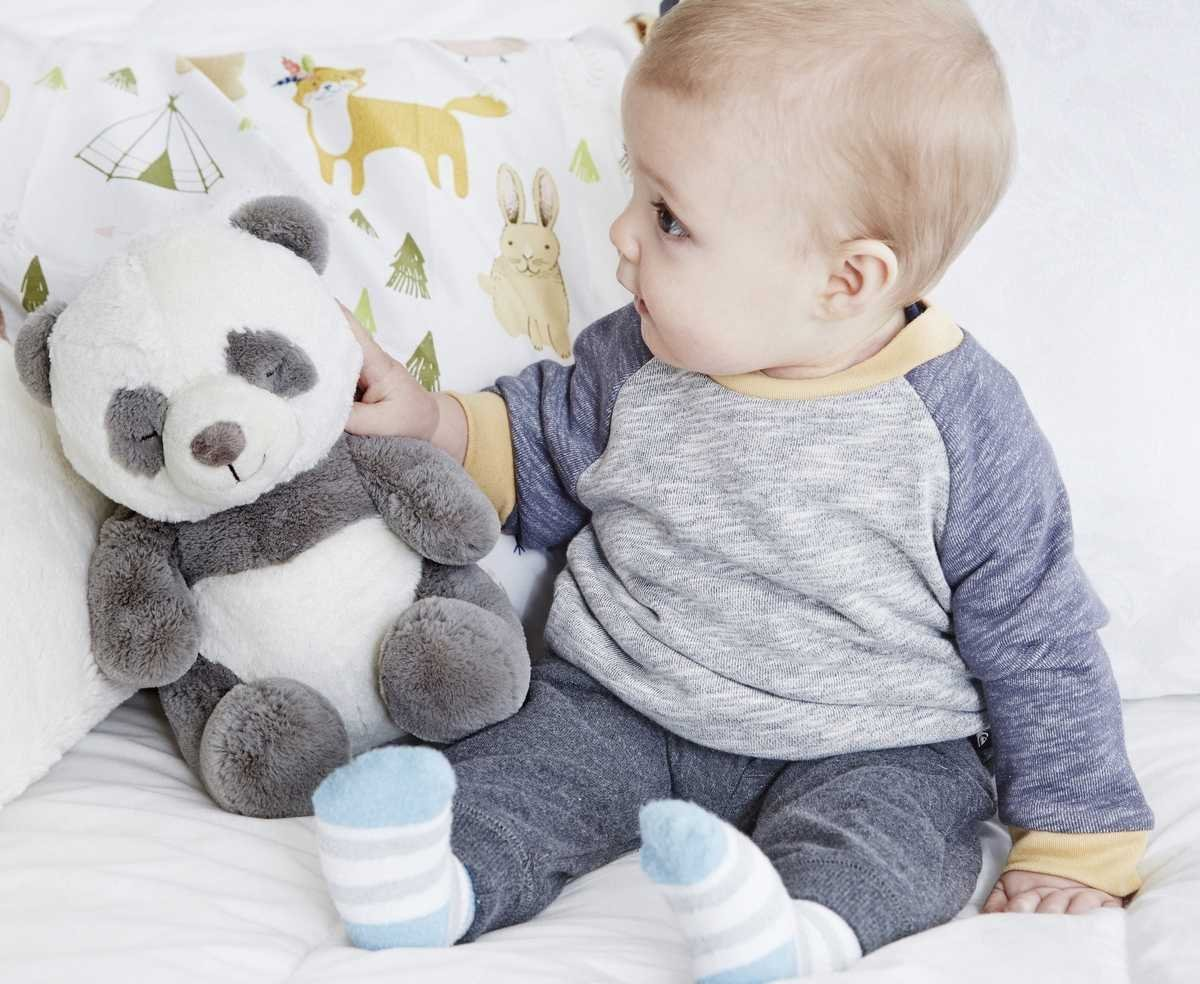 Ply�ov� hra�ka s mel�diou Panda 20 cm - zv��i� obr�zok